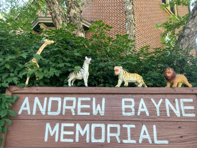 Toys animals on library sign.